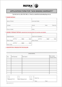 Warranty Claim Form | Rotax Max Racing Australia